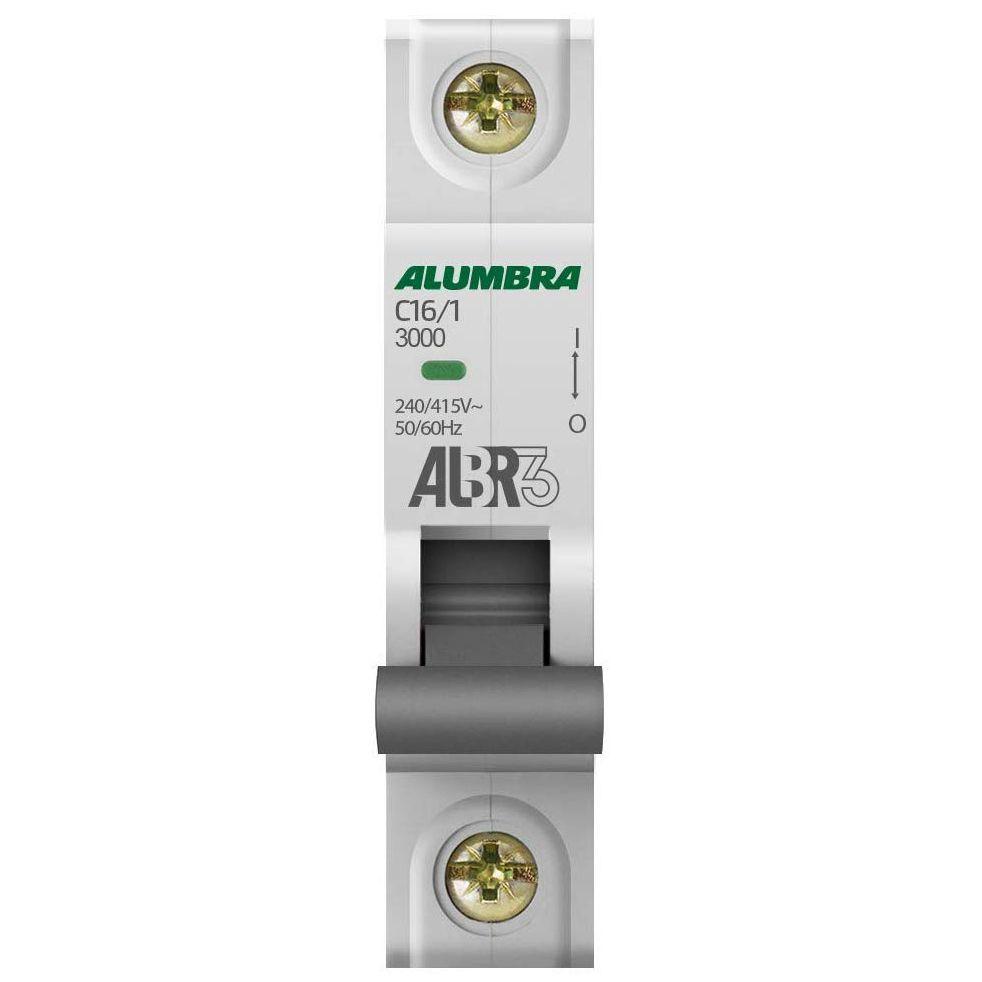 Disjuntor Unipolar 16A Curva C ALBR3 - Alumbra (Branco)