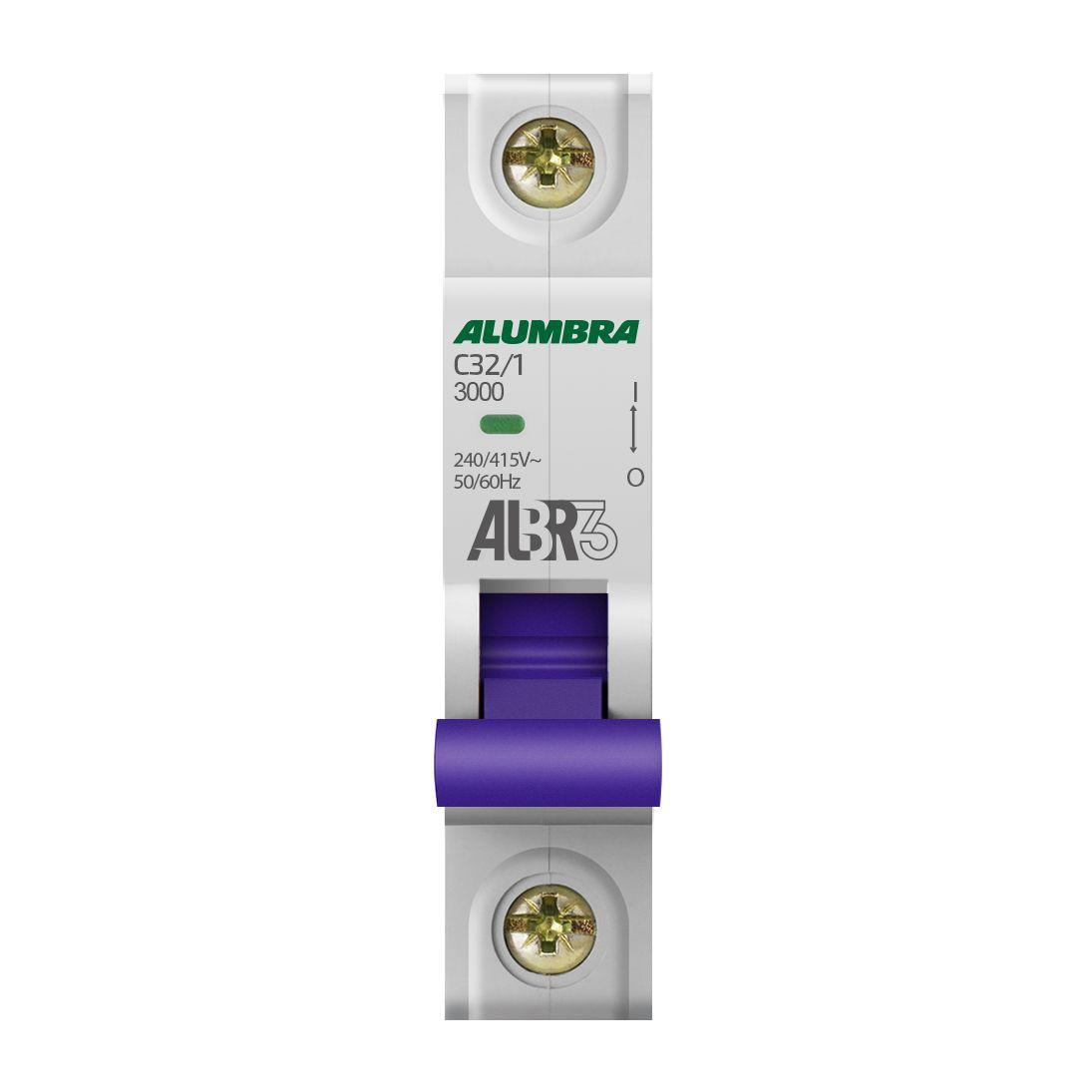 Disjuntor Unipolar 32A 3kA Curva C ALBR3 - Alumbra (Branco)
