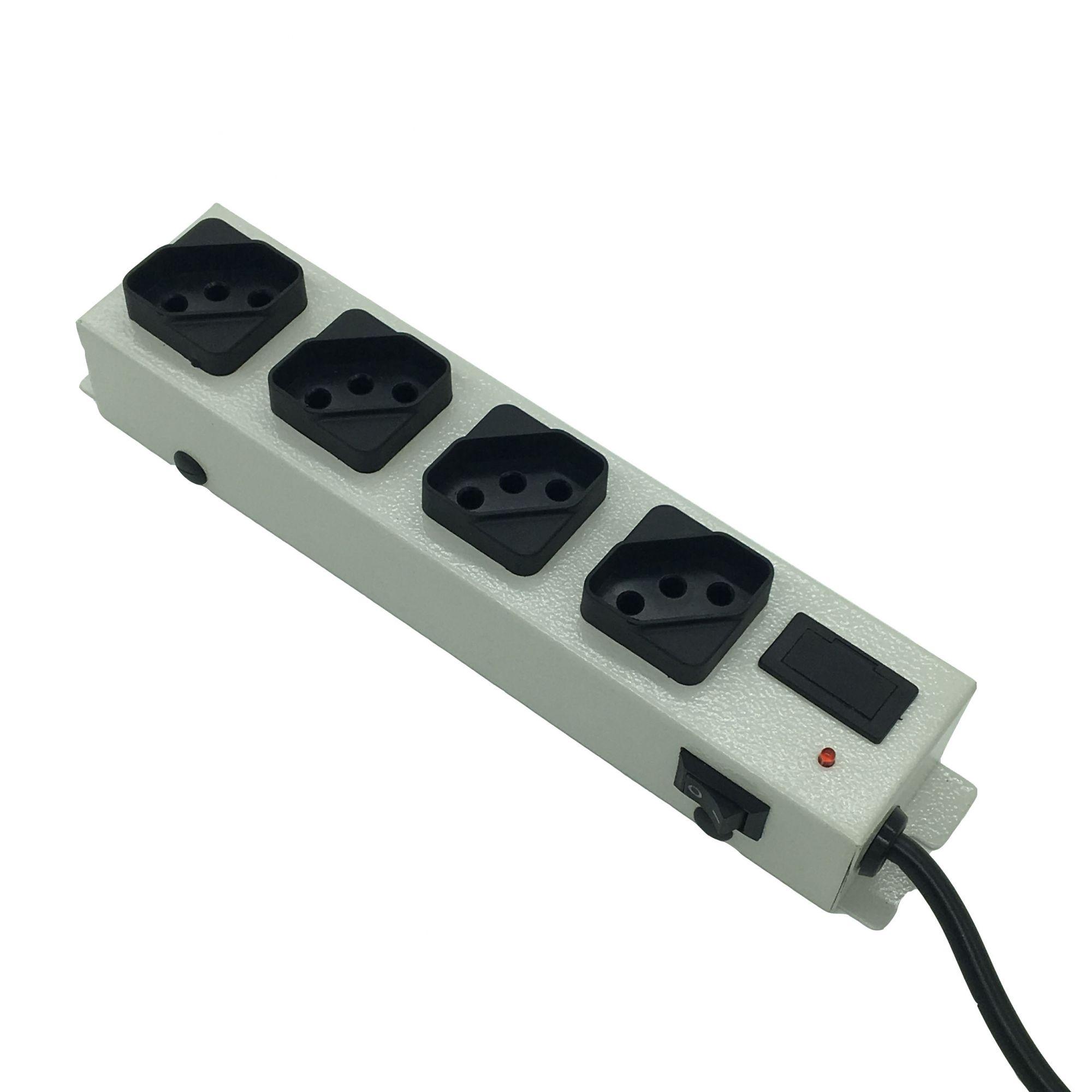 Filtro de Linha 4 Tomadas c/ Interruptor 5 Mts - Cinza (Bivolt)