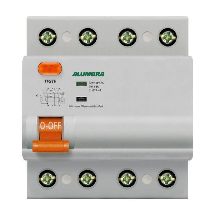 Interruptor Diferencial Residual Tetrapolar 25A - Aumbra (Branco)