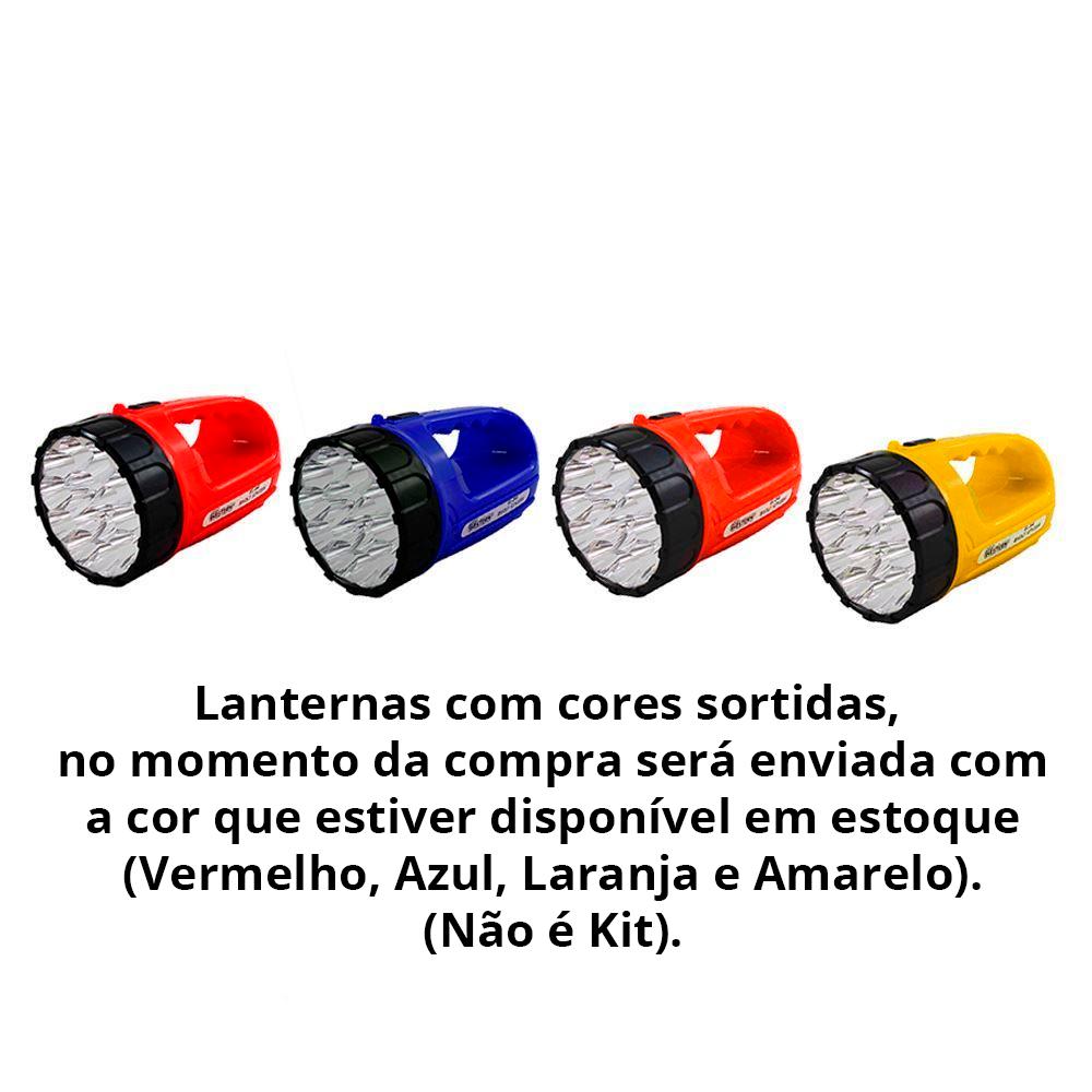 Lanterna 15 LEDs Recarregável (Cores Sortidas) Bivolt