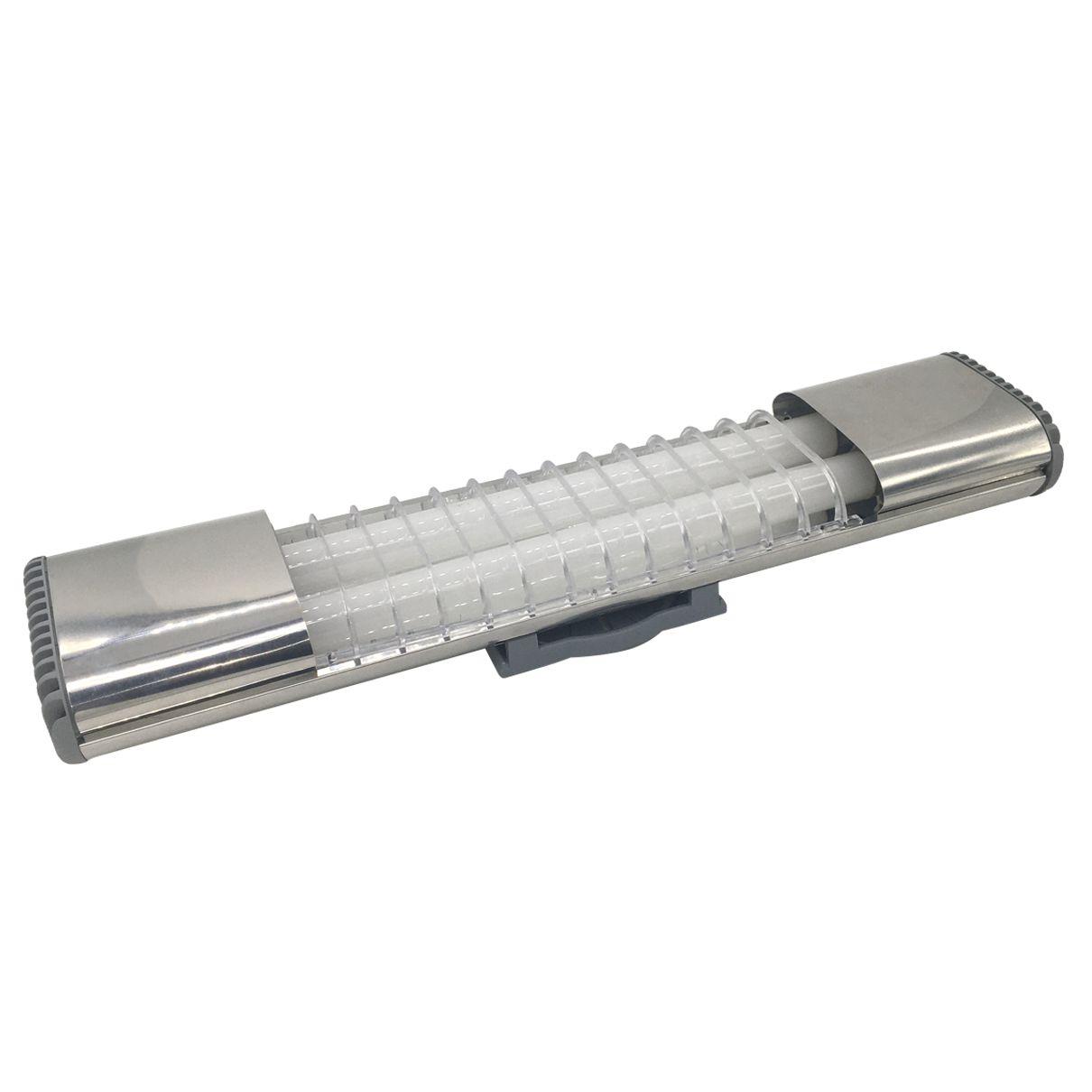 Luminária de teto Inox Sobrepor 2x10W Lâmpada T8 Tubular- (Bivolt)
