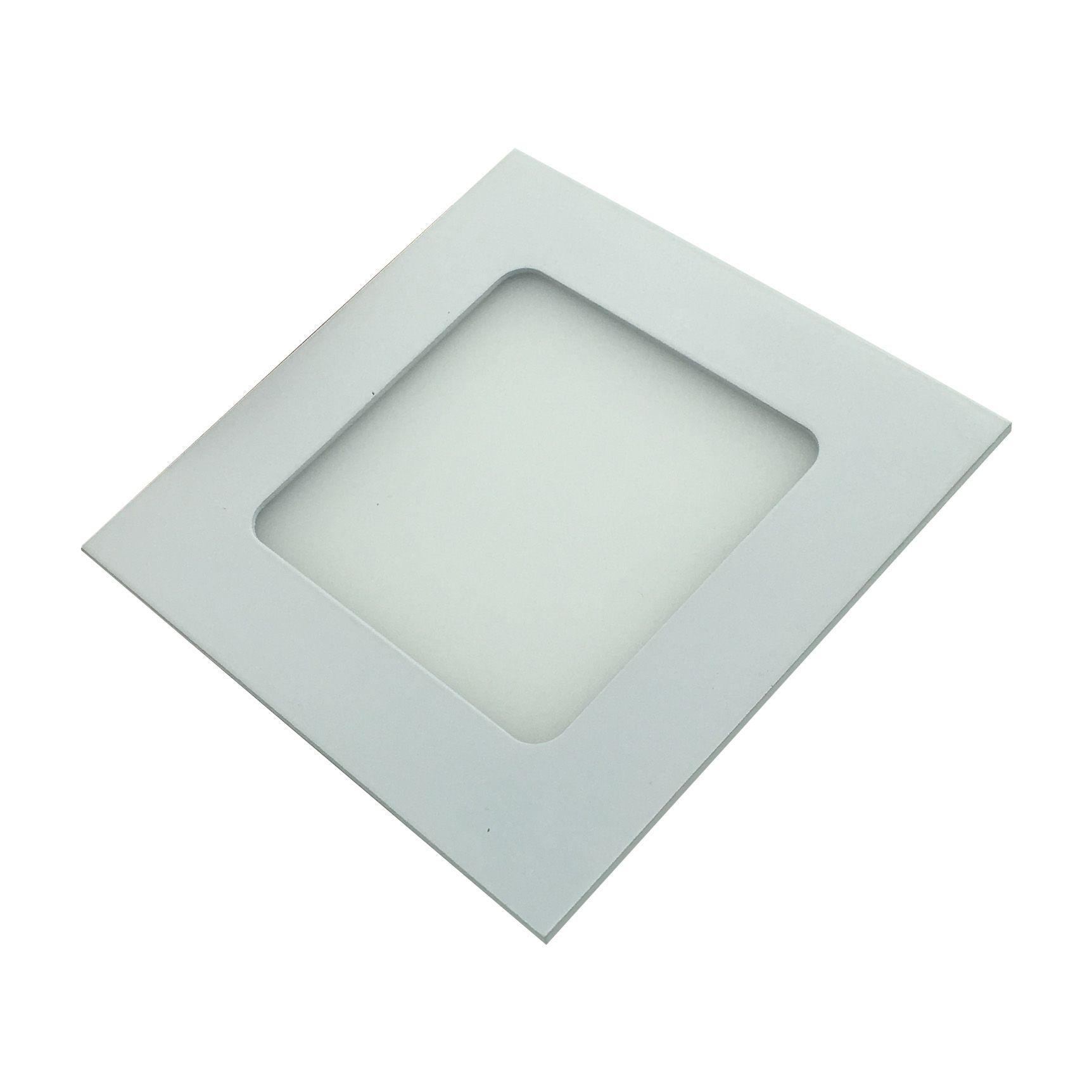 Painel de LED Embutir Quadrado 4000K - 6W (Bivolt)