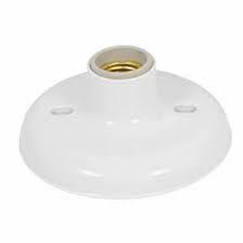 Plafonier Branco de PVC Com Soquete Em Porcelana