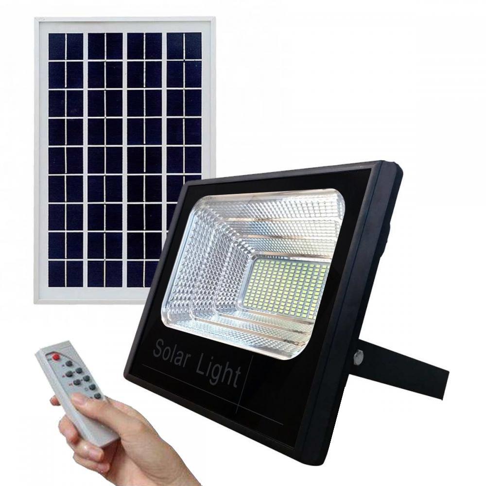 Refletor LED Solar 300W c/ Controle Remoto - Preto