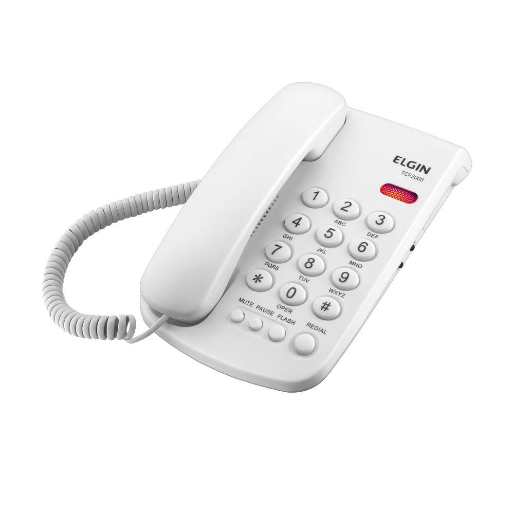 Telefone c/ Fio e LED Indicador de chamada TCF-2000 - Elgin