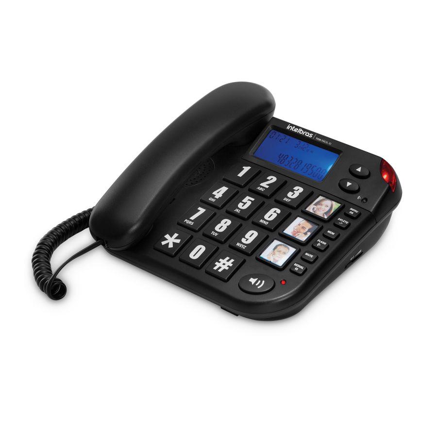 Telefone c/ Fio Teclas Grandes, ID de Chamadas e Viva-Voz Tok Fácil - Intelbras