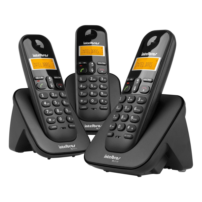 Telefone s/ Fio + 2 Ramais com Viva-voz e ID de Chamadas TS 3113 - Intelbras