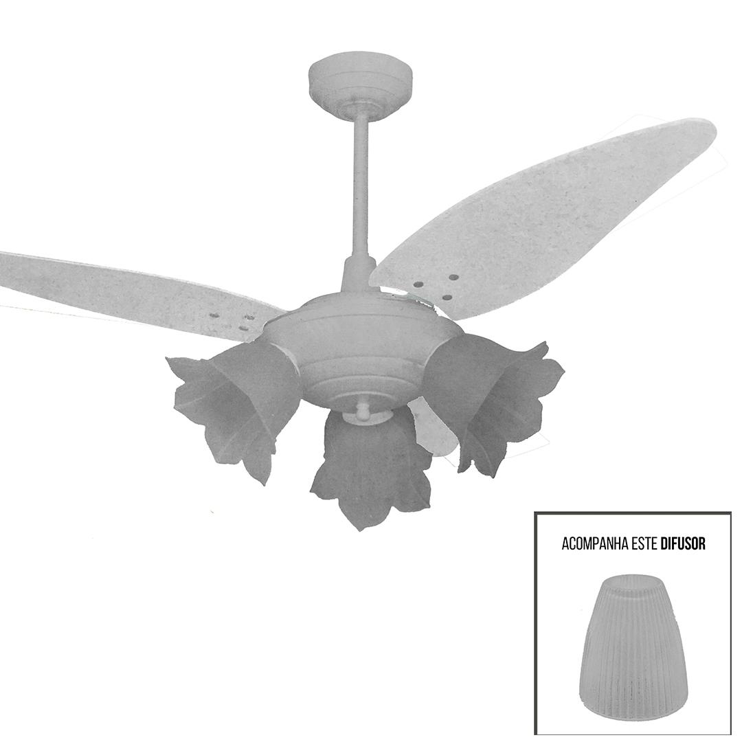 Ventilador de Teto 3 Pás c/ 3 Spots Milan Especial 120W - Volare (110V) Ponta de Estoque