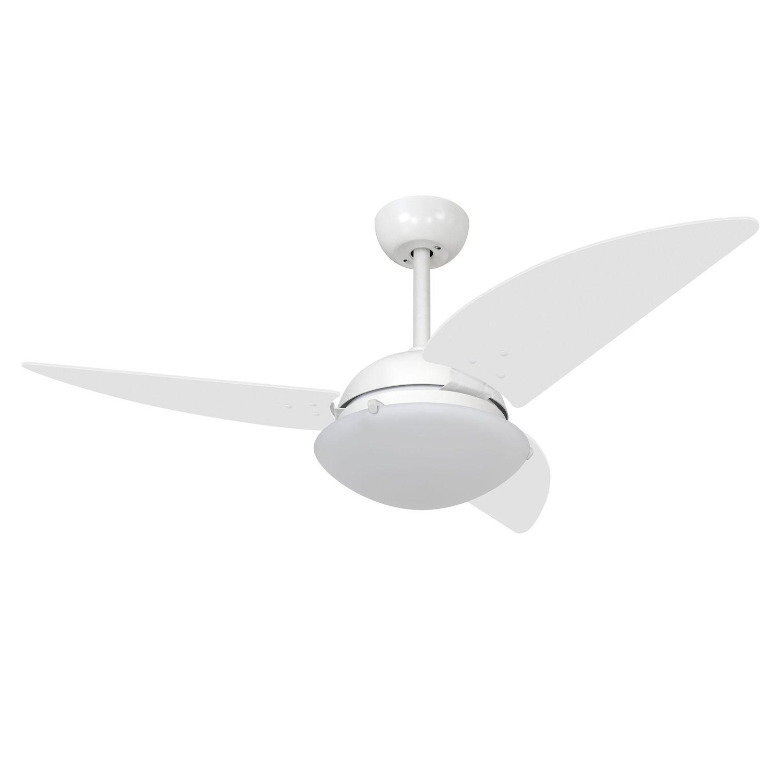 Ventilador de Teto 3 Pás c/ Luminária Premium Class Branco - Volare (110V)