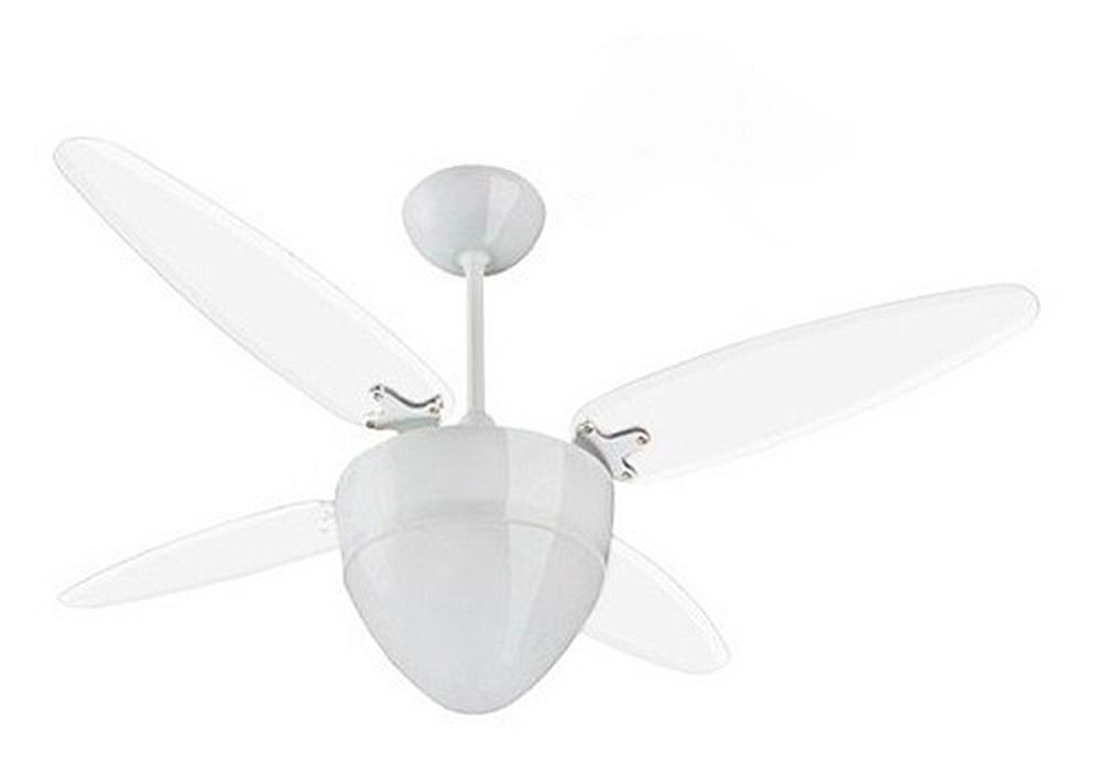 Ventilador de Teto Pétalos Brancas 4 Pás Transparente - 127V