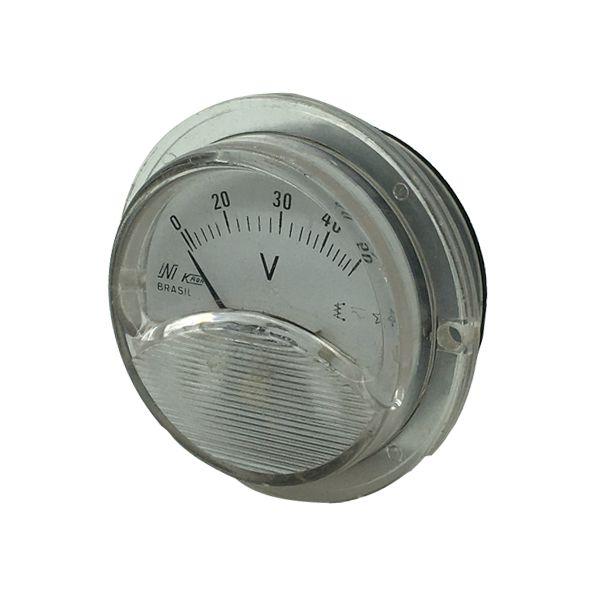 Voltímetro Analógico Redondo 50V 65mm Transparente/Preto