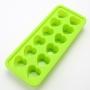 Forma Para Gelo De Silicone Coração 12 Un - Verde