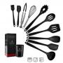 Kit 10 Utensílios Para Cozinha Silicone Com Suporte Preto