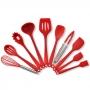 Kit 10 Utensílios para Cozinha Silicone Vermelho