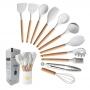 Kit 11 Utensílios de Silicone Cozinha Marmorizado Branco
