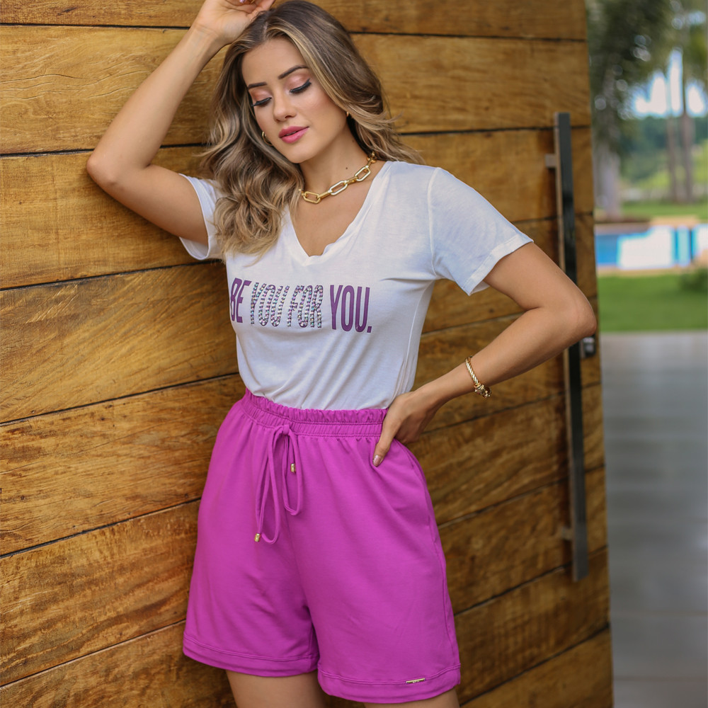 Short Cintura Alta Feminino Amarração  - B063 SA