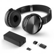 Fone Headphone Bluetooth SD Aux Fm Power Bank 4000 Mah+Leitor Usb +Micro Sd32Gb C10 - MC250