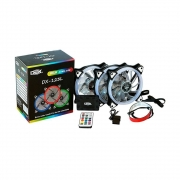 Kit 3 Cooler Fan led 1200m rgb c / Fita e controle - DX123L