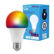 LAMPADA INTELIGENTE LED BULBO  COLORIDA DIMERIZAVEL 10W MULTILASER LIV -  SE224