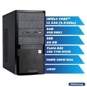 Pc Computador Desktop Core I3 - 2.93Ghz 4GB Ddr3 SSD60GB Vga Hdmi FT200W GN Linux (U)