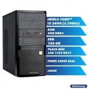 Pc Computador Desktop Core I5 2400 3.10Ghz 4GBDDR3 SSD120GB VGA HDMI FT200W GN LINUX (U)
