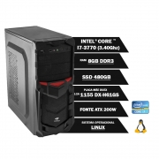 Pc Computador Desktop Core I7-3770 8GB Ddr3 SSD 480GB Vga Hdmi Fonte 200W Linux (U)