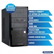 Pc Computador Desktop Core I7-6700 8GB Ddr4 SSD 480GB Vga Hdmi Fonte 500WR 80Plus Linux (U)