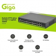 SWITCH CFTV ATIVO 400W 52VDC 250M 24 POE / 02 UPLINK - GS0248