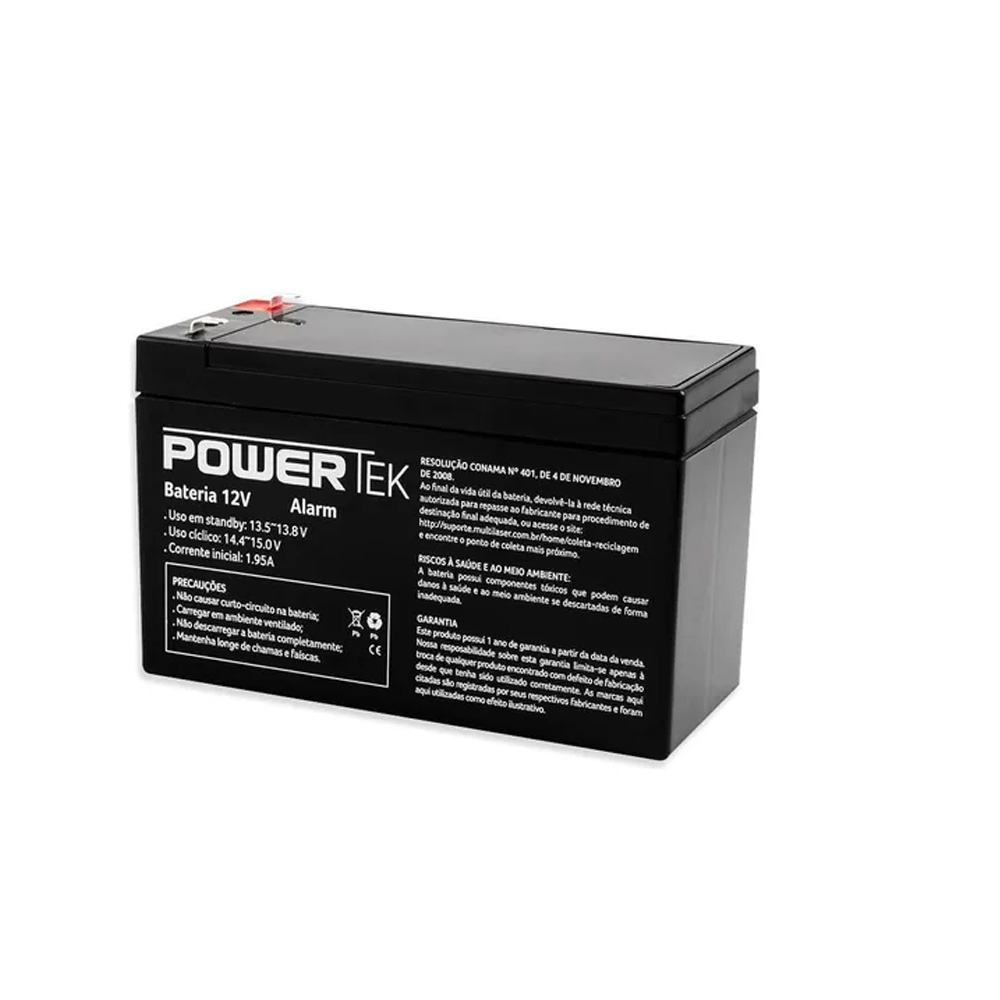 Bateria Powertek 12V - 7AH - Alarme e Cerca Eletrica - EN011