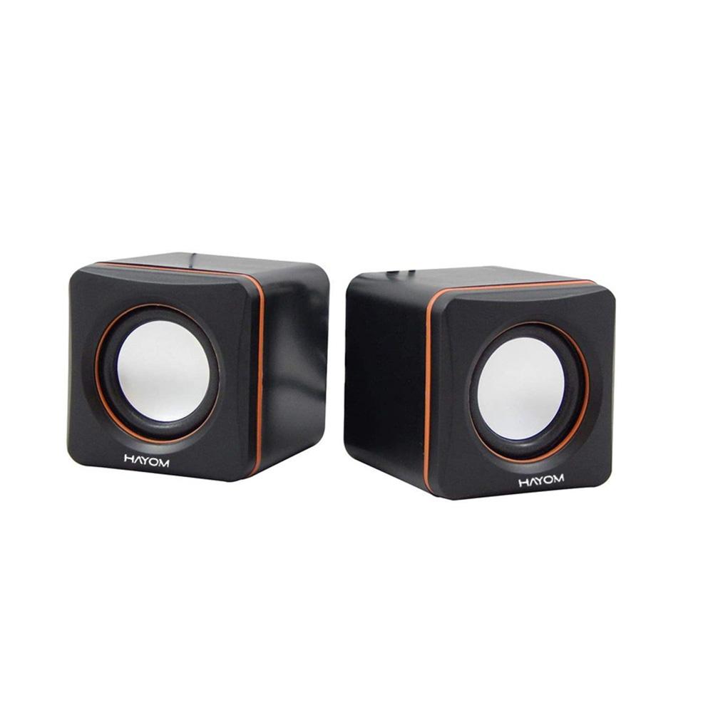 Caixa De Som Hayom Mini Cubo 2.0 2x3W Rms Preto C/Laranja KM2501