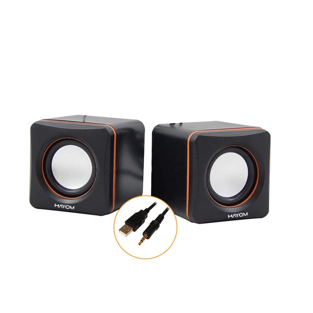 Caixa De Som Hayom Mini Cubo 2.0 2x3W Rms Preto C/Laranja KM2501  - Districomp Distribuidora