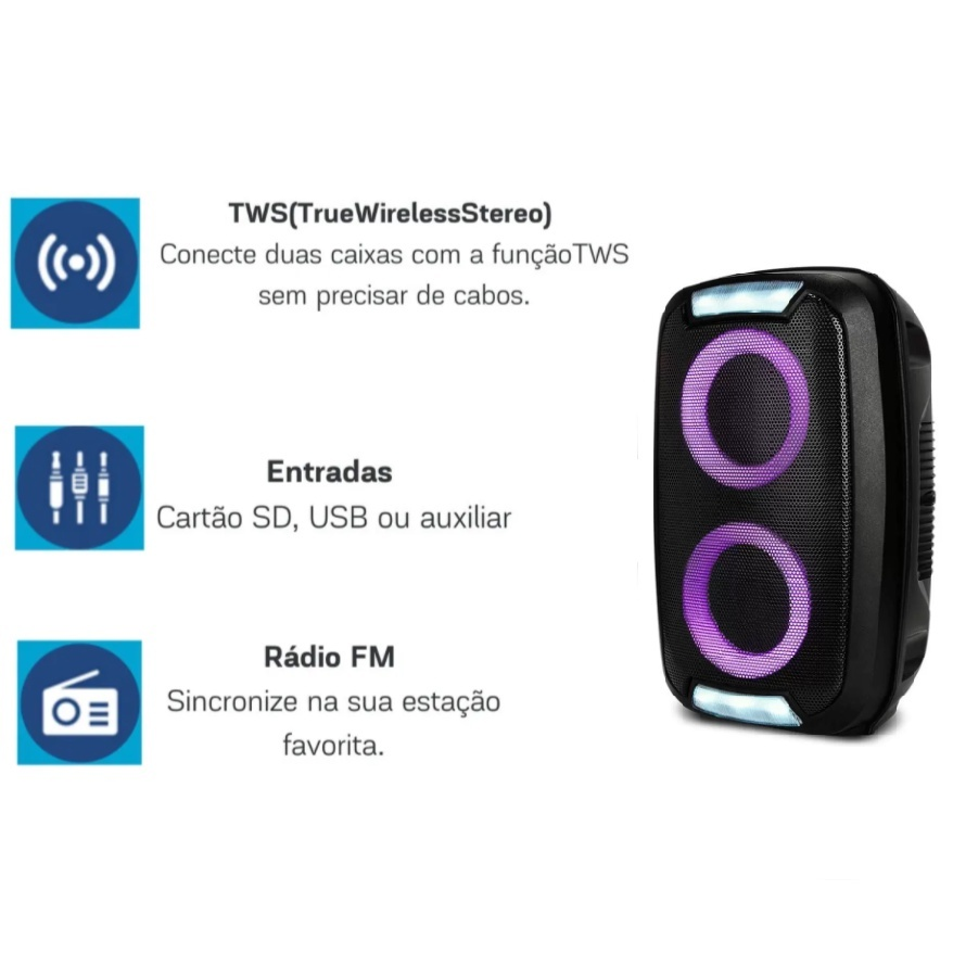CAIXA DE SOM MINI TORRE PORTATIL BLUETOOTH 250W RMS USB/SD/TWS/FM BAT MULTILASER PRETO- SP400  - Districomp Distribuidora