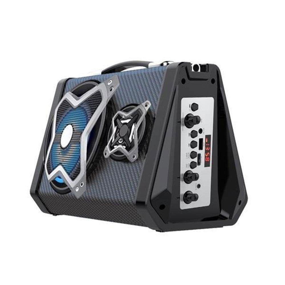 CAIXA DE SOM PORTATIL BLUETOOTH 120W RMS USB/SD/P2/FM BAT MULTILASER PRETO- SP314  - Districomp Distribuidora