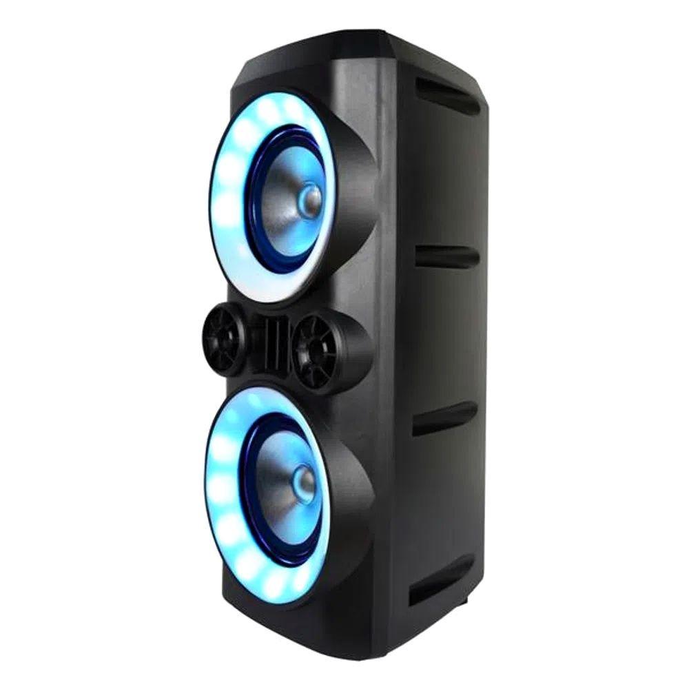 CAIXA DE SOM TORRE NEON X BLUETOOTH 300W RMS USB/P2/FM/AUX BAT MULTILASER PRETO - SP379