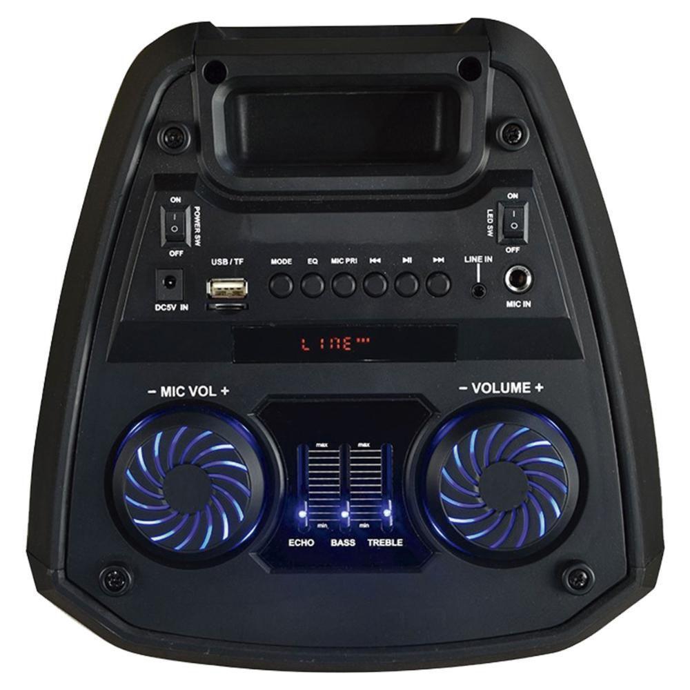 CAIXA DE SOM TORRE NEON X BLUETOOTH 300W RMS USB/P2/FM/AUX BAT MULTILASER PRETO - SP379  - Districomp Distribuidora