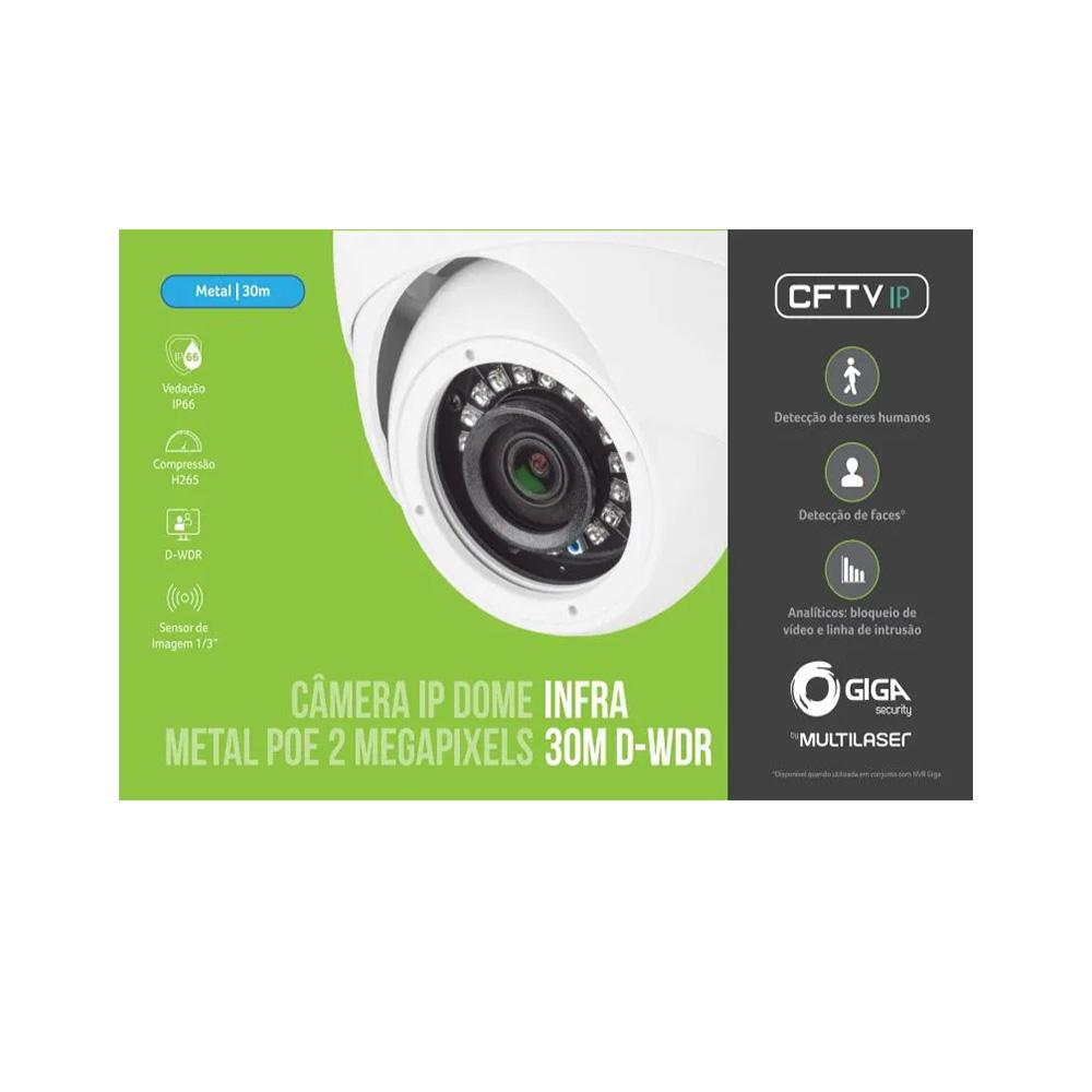 Câmera IP DOME Infra 2 Megapixel (1080p) POE - GS0370  - Districomp Distribuidora