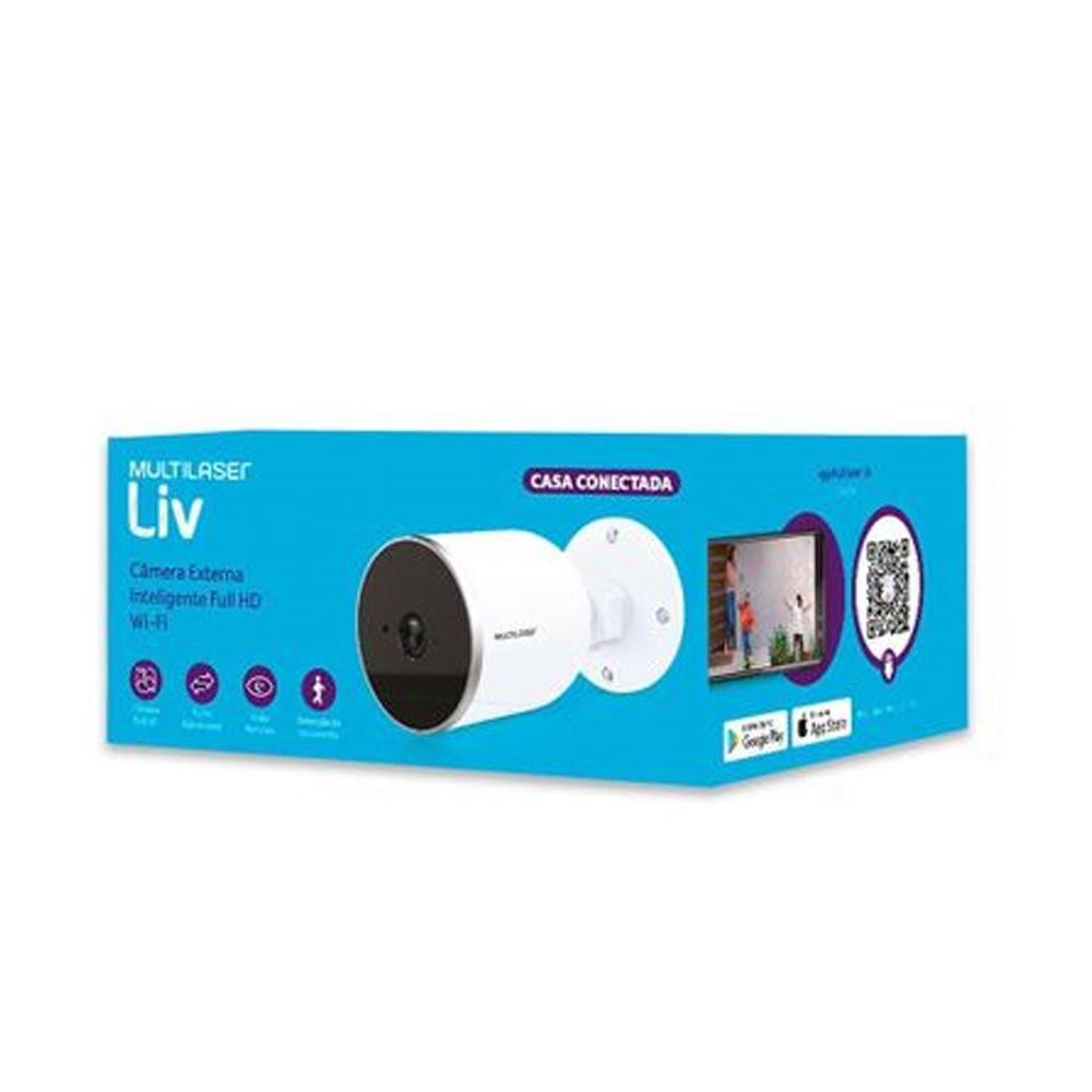 CAMERA IP INTERNA INTELIGENTE 1080p IP65 WI-FI HD 3.6 mm MULTILASER LIV - SE222  - Districomp Distribuidora