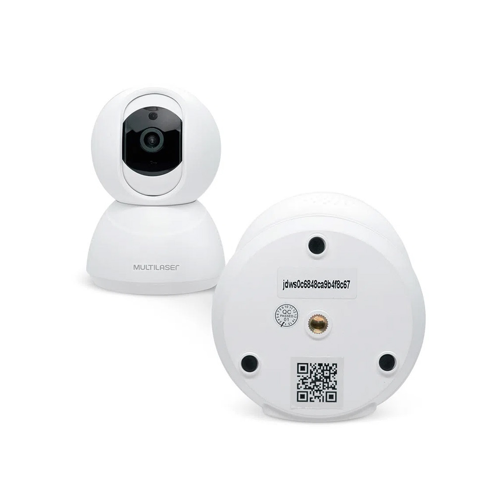 CAMERA ROBO IP INTERNA INTELIGENTE 1080p WI-FI HD 3.6MM 10M C/ROTACAO 360 GRUAS MULTILASER LIV-SE221  - Districomp Distribuidora