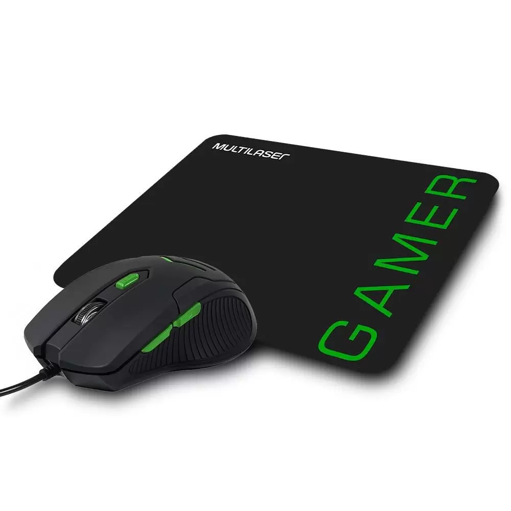 Combo Mouse 3200dpi e Mousepad Gamer Verde - MO273