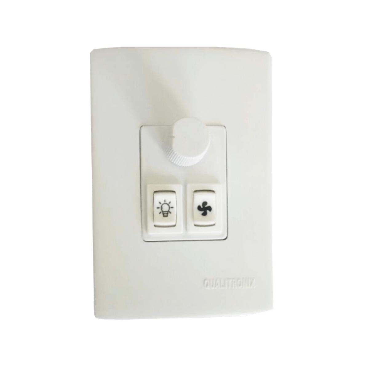 CONTROLE PARA VENTILADORE LAMPADA127/220V QUALITRONIX BRANCO - Qv371  - Districomp Distribuidora