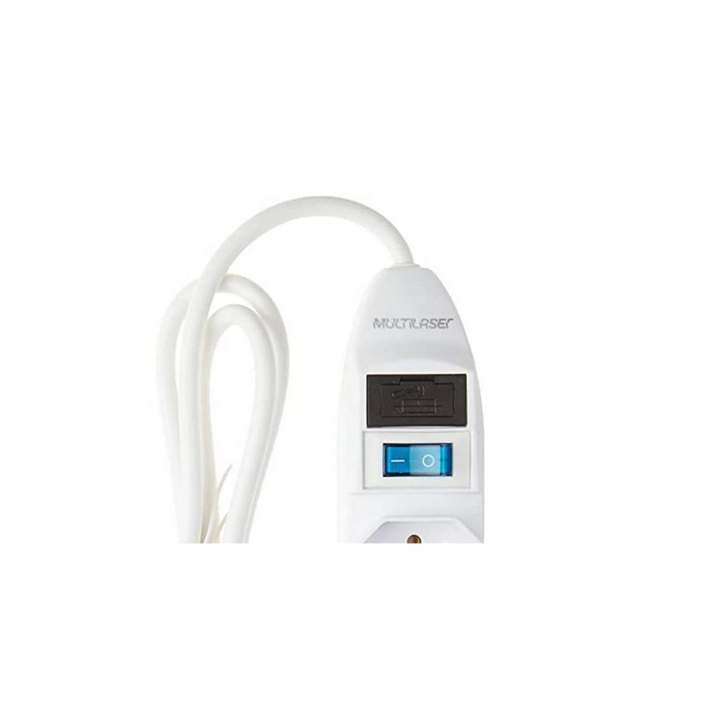 Filtro De Linha 5 Tomadas Branco Multilaser ? Wi300  - Districomp Distribuidora