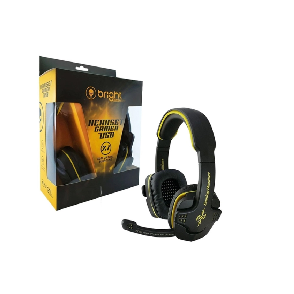Fone de Ouvido Headset Gamer 7.1 conexao 1.8 metros Preto e Amarelo Bright -0354  - Districomp Distribuidora