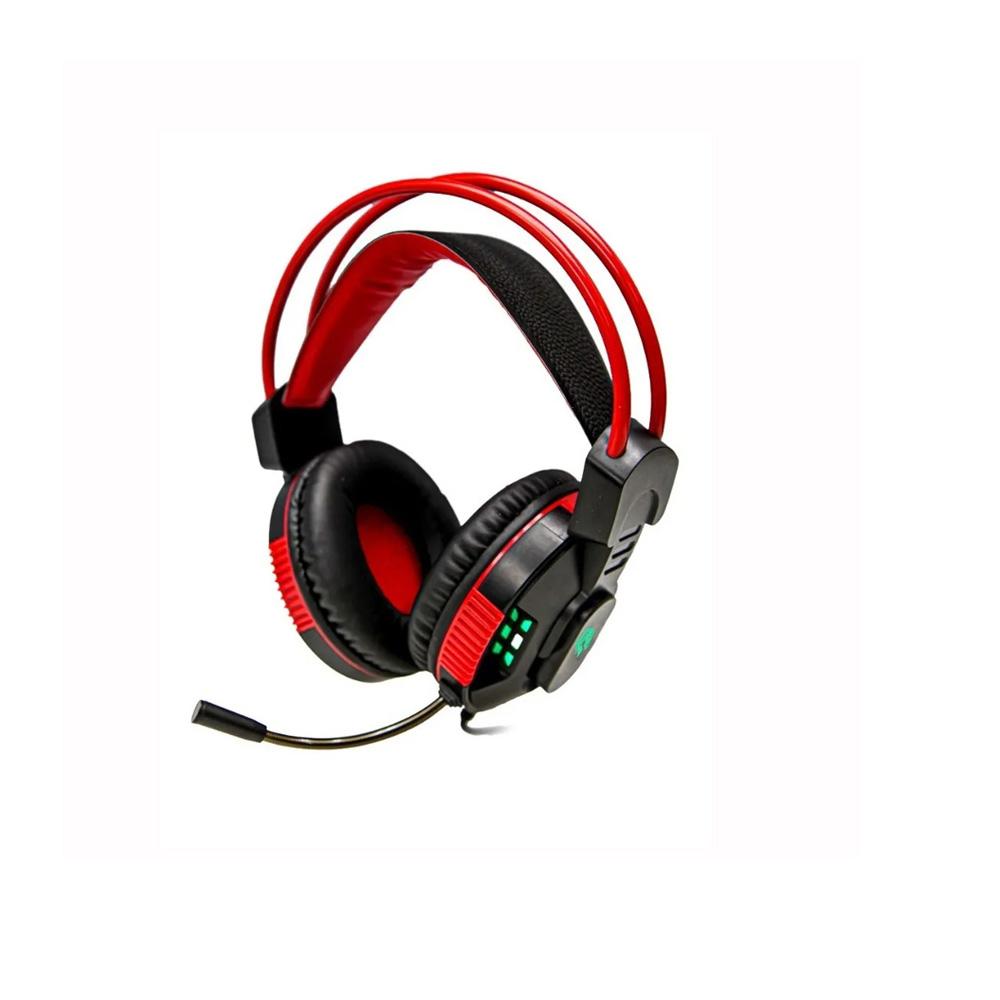 Fone De Ouvido Headset Gamer Hayom C/ Leds Plug P2 + Usb Cabo 2 Metros HF2207 Preto e Vermelho