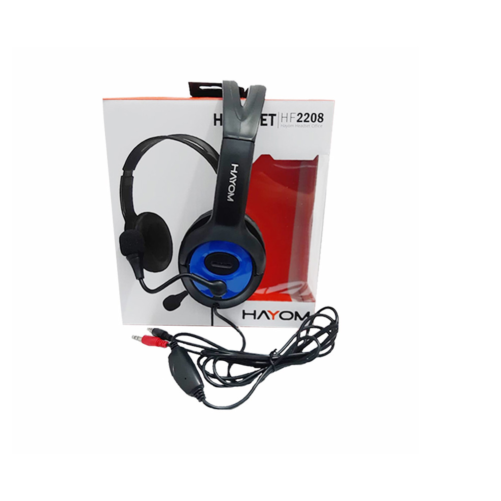 Fone de Ouvido Headset Gamer/Office Hayom Conexao Duplo P2 Cabo de 2,0 Mt HF2208 Preto e Azul  - Districomp Distribuidora