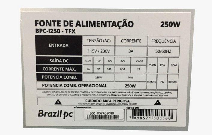 Fonte Atx 250w Real Slim  BrazilPC  BPC-I250 (1x24P/2xIDE/2xSATA/1x4P Aux) OEM  - Districomp Distribuidora