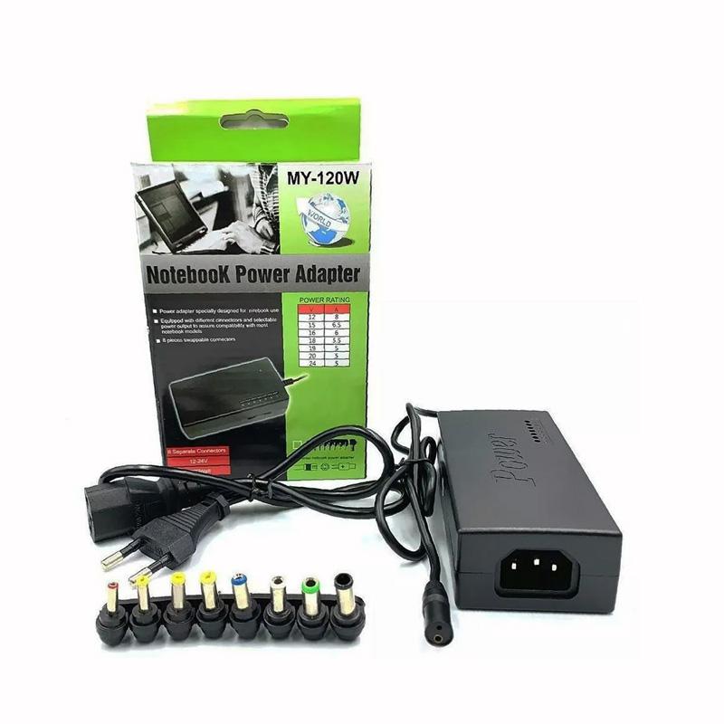 Fonte Carregador Universal Para Notebook 120W 10 Pinos Power - MY-120W  - Districomp Distribuidora