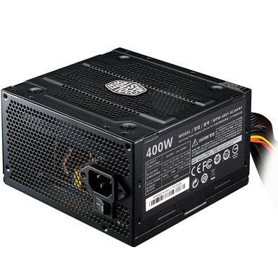 Fonte Cooler  MasterFonte 400W Cooler Master ELITE 400 V3 PFC Ativo 1x(4+4) 1x(6+2) 6xSata 3xIDE 1xFDD - MPW-4001-ACAAN1-WO  - Districomp Distribuidora