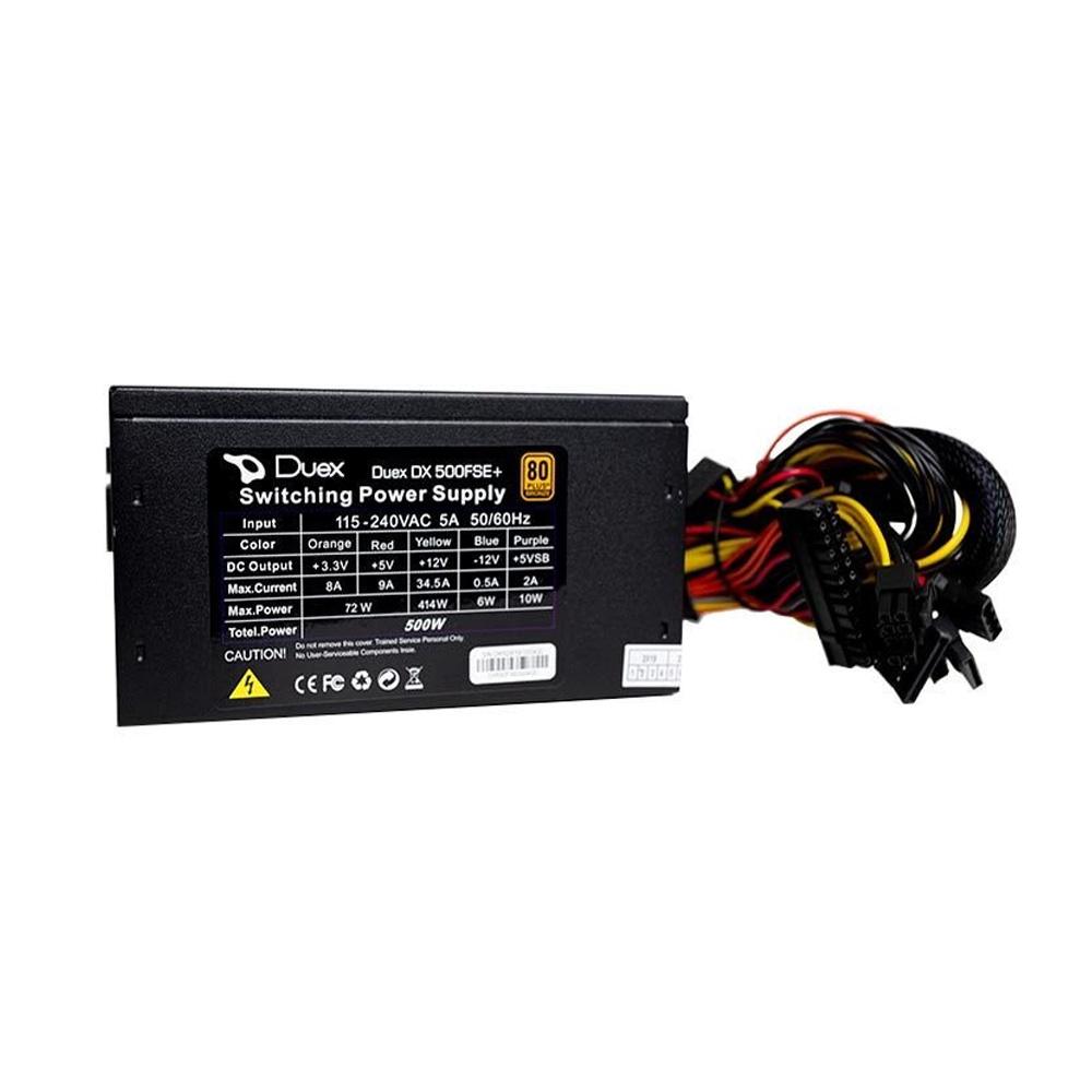 Fonte Duex 500w Real 80Plus pfc at dx 500fse c/cabo  - Districomp Distribuidora
