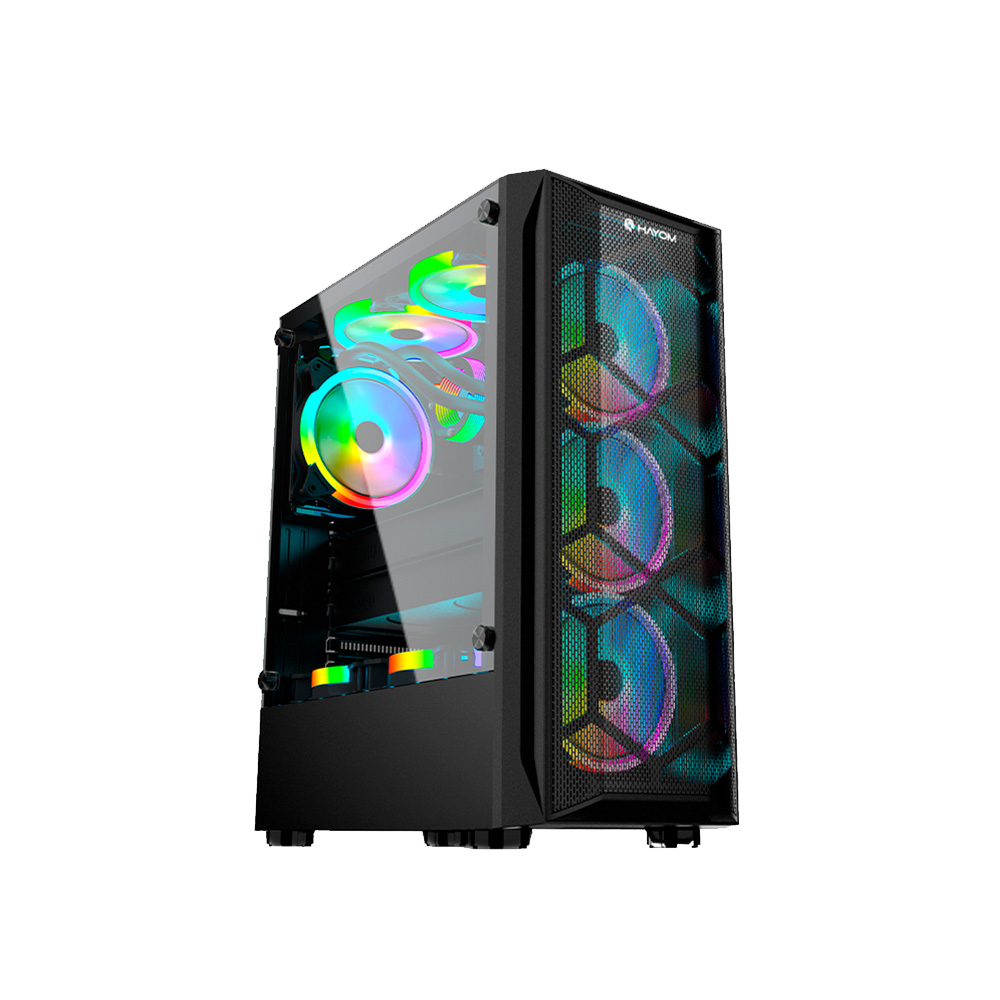 Gabinete Gamer em Vidro Temperado USB 3.0 C/3Fans RGB Incluso Hayom - GB1706